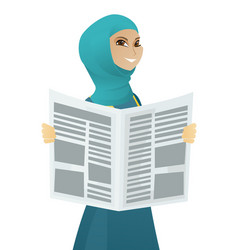 Young muslim business woman reading newspaper vector