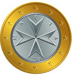 maltese money gold euro coin one euro vector image vector image