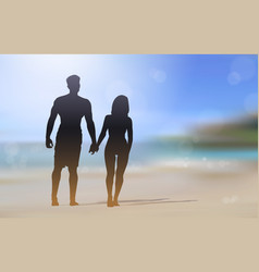 silhouette couple walking on beautiful beach vector image vector image