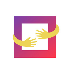 square hug logo design graphic abstract hands and vector image