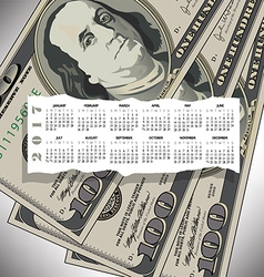 A 2017 calendar with a 100 dollar bill design vector image