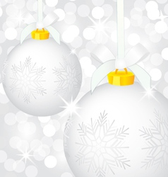 Christmas silver balls vector image vector image