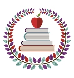 Crown of leaves with school books with apple vector