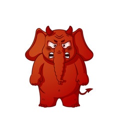 elephant character angry red with horns devil vector image