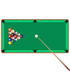 green billiard table with cue and balls in vector image vector image