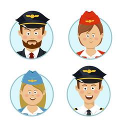 pilots air hostesses professional people avatars vector image