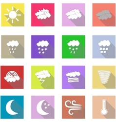 Weather flat icons set and white background vector image