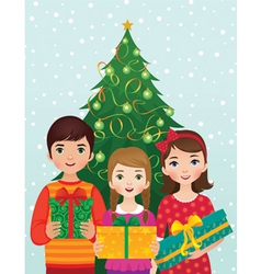 Children and Christmas morning vector image vector image