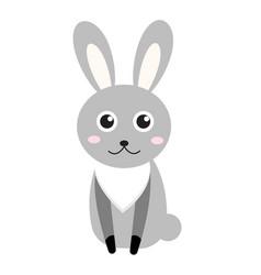 cute bunny icon flat stylerabbit isolated on vector image