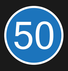 minimum speed sign 50 flat icon vector image