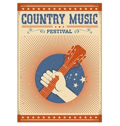 Music festival background with guitar and hand vector