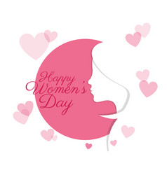 happy womens day profile girl card vector image