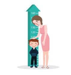 measure child kid height mother woman ruler meter vector image vector image
