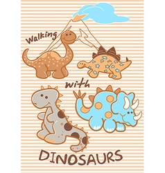 walking with dinosaurs vector image vector image