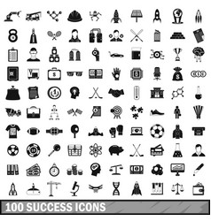 100 success icons set simple style vector