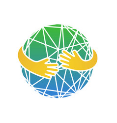 Abstract earth in hands circle hug vector
