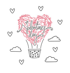 Air ballon in shape of heart valentines day vector