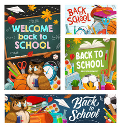 back to college school stationery supplies owl vector image