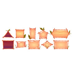 bamboo frames with old parchment wooden background vector image