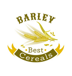 Barley grain badge for food packaging design vector