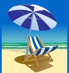 Beach chair and umbrella near the sea vector