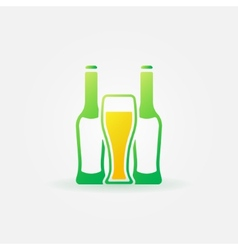 Beer green bottles and glass vector