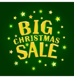 Big christmas sale with gold stars vector