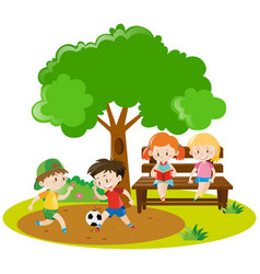 Boys playing football and girls reading in park vector