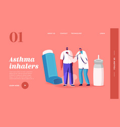 Breath with inhaler landing page template asthma vector