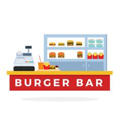 burger bar with tools flat vector image