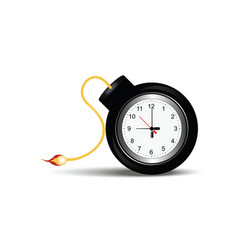 burning bomb with clock timer vector image