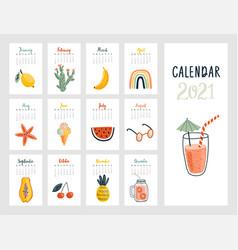 calendar 2021 cute monthly calendar with vector image