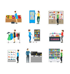 cartoon shopping peoples on store vector image