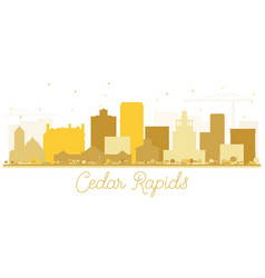 cedar rapids iowa skyline golden silhouette vector image