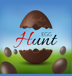 chocolate egg 3d happy easter egg hunt text vector image