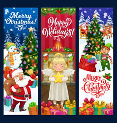 christmas banners santa xmas tree gifts elf vector image