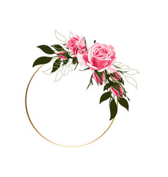 circle golden frames with pink roses flowers vector image