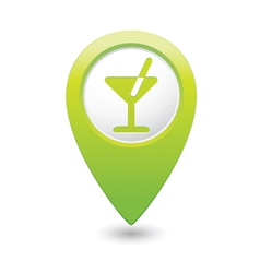 cocktail icon green map pointer vector image