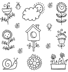 Collection of spring theme doodles vector