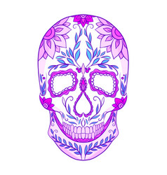 color neon of a sugar skull th vector image