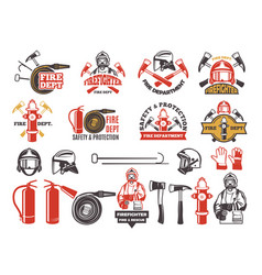 colored badges for firefighter department symbols vector image