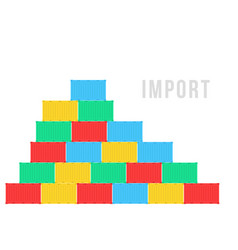 Colored stack sea containers like import vector