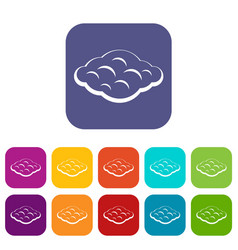 Curly cloud icons set flat vector