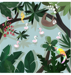 Cute happy animal in tropical forest cartoon vector