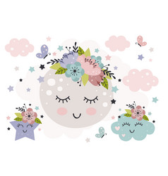 Cute poster with beautiful moon and flower vector