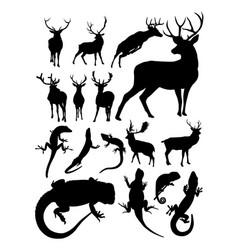 deer and lizard animal detail silhouette vector image