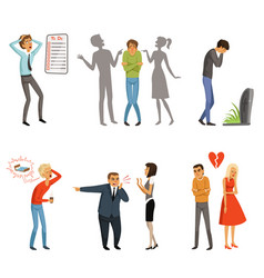 different peoples male and female in panic scenes vector image