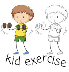 doodle boy exercise character vector image