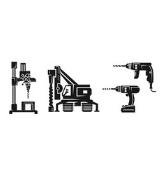 Drilling machine icons set simple style vector