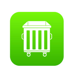 Dumpster on wheels icon digital green vector